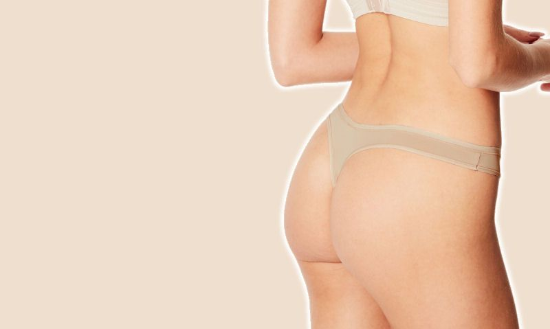 Women modelling nude No VPL thong, nude colour background