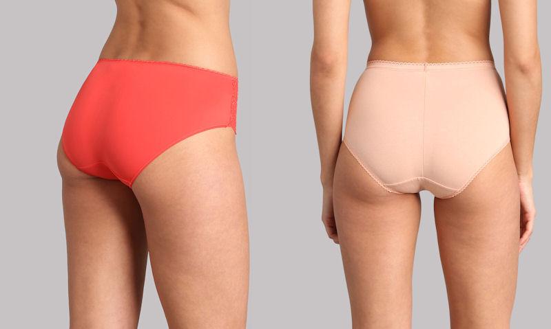 Models standing side by side wearing near identical brief style underwear