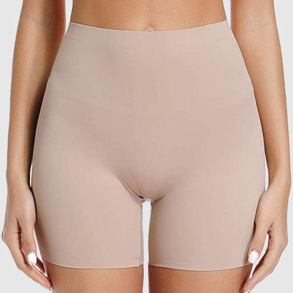 Woman wearing skin tight shorts